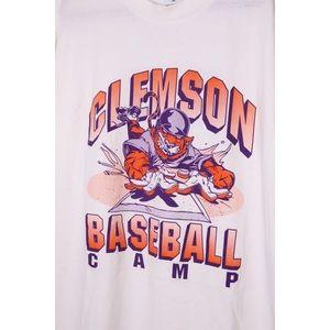 Vintage Shirts - RARE Vintage CLEMSON Tigers Baseball Graphic Tee